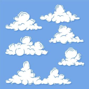 Colección de ilustraciones de nubes planas