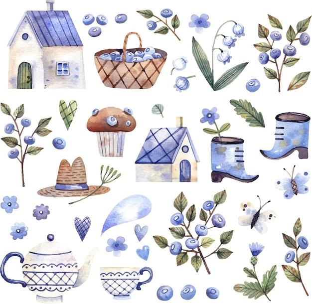 Colección de ilustraciones del núcleo de la cabaña casas pequeñas canasta de bayas taza con flores