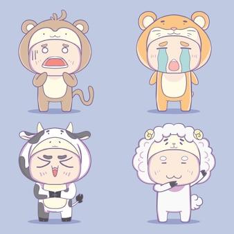 Colección de ilustraciones de personajes de disfraces de animales kawaii dibujados a mano.