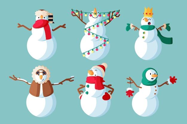 Colección de ilustraciones de personajes de muñeco de nieve de diseño plano