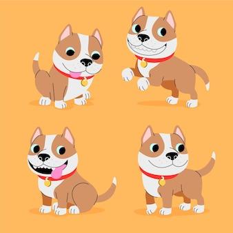 Colección de ilustraciones de pitbull de dibujos animados