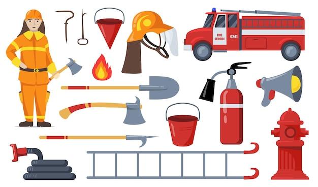 Colección de ilustraciones planas de bomberos y equipos de extinción de incendios.