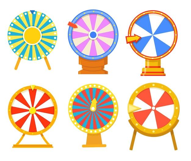 Colección de ilustraciones planas de ruedas de colores de moda de la fortuna