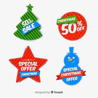 Colección de ilustraciones de rebajas navideñas