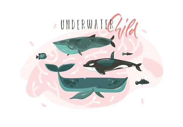 Colección de ilustraciones submarinas de horario de verano gráfico de dibujos animados abstractos dibujados a mano con personajes de ballenas grandes de belleza aislados sobre fondo blanco.