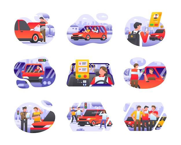 Colección de ilustraciones de transporte de automóviles en taxi en línea