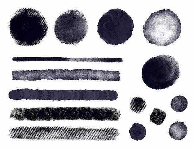 Colección de ilustraciones de trazos de pincel de tinta