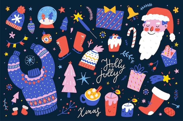 Colección de ilustraciones de vectores de navidad