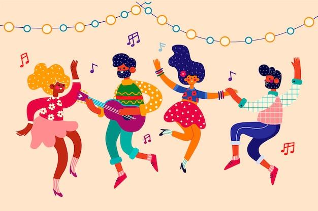 Colección ilustrada de bailarines de carnaval