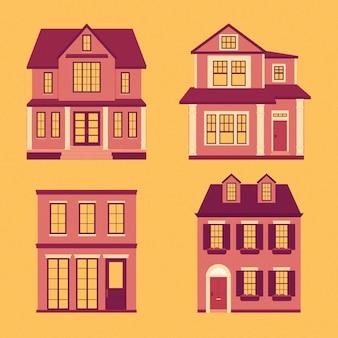 Colección ilustrada de casas modernas