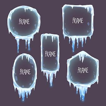 Colección ilustrada de marcos de hielo