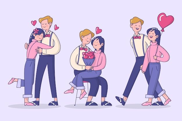 Colección ilustrada de pareja de san valentín