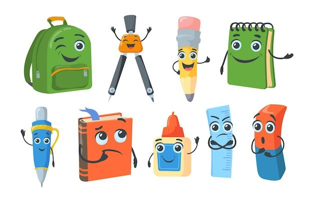 Colección de imágenes planas de personajes de papelería escolar brillante