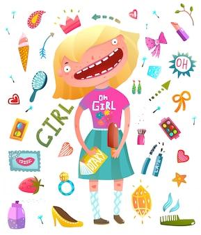 Colección de imágenes prediseñadas de niña con niña adolescente y cosméticos