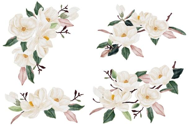 Colección de imágenes prediseñadas de ramo de flores y hojas de magnolia blanca acuarela aislado sobre fondo blanco