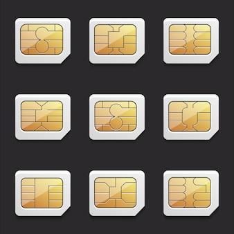 Colección de imágenes vectoriales de tarjetas micro sim con diferentes chips.