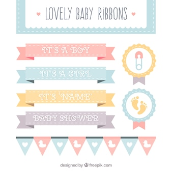 Colección de impresionantes cintas de bebé en colores pastel