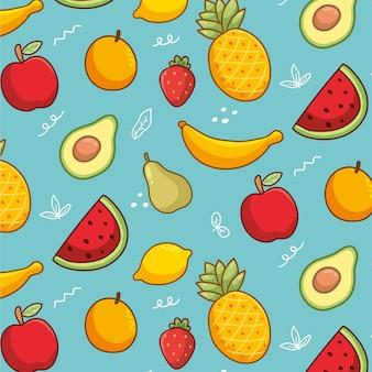 Colección inconsútil linda fruta exótica