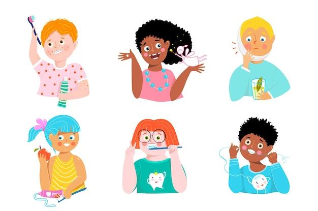 Colección infantil de cuidado dental. niños lindos cepillarse los dientes, usar aparatos ortopédicos y una sonrisa desdentada. imágenes prediseñadas de educación para la salud bucal.