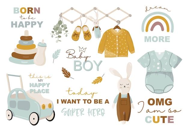 Colección infantil con elementos de ropa y juguetes.