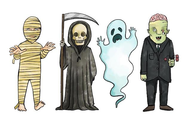 Colección infantil de halloween en acuarela