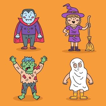 Colección infantil de halloween dibujada a mano