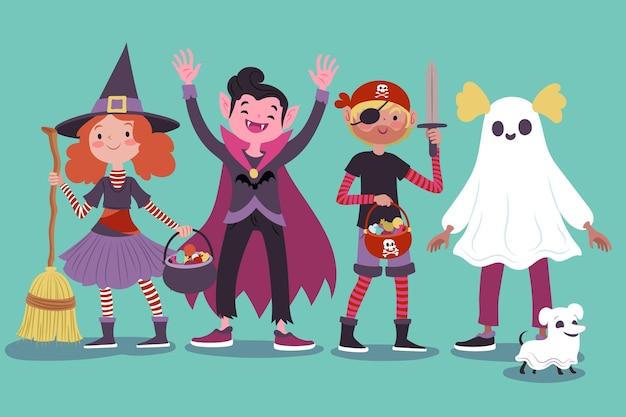 Colección infantil de halloween dibujada