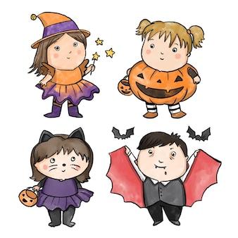 Colección infantil de halloween con diseño de acuarela