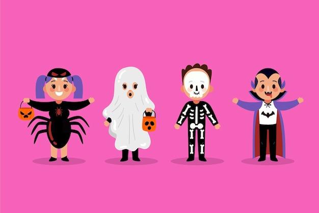Colección infantil de halloween en diseño plano