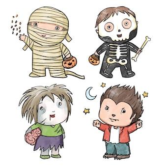 Colección infantil de halloween estilo acuarela