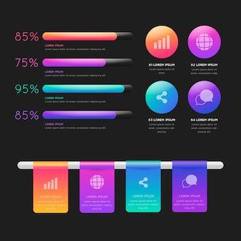 Colección de infografía brillante 3d