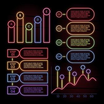 Colección de infografía en estilo neón.