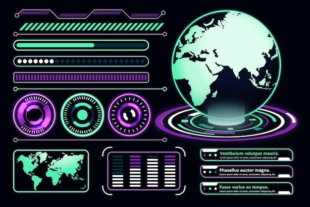 Colección de infografía futurista