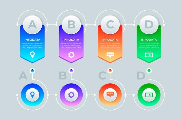Colección de infografía gradiente
