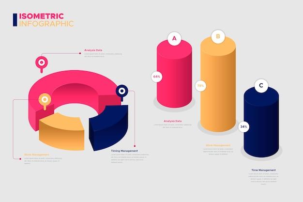 Colección de infografía isométrica.