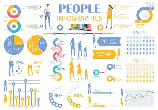 Colección infografía personas elementos hombre, mujer.