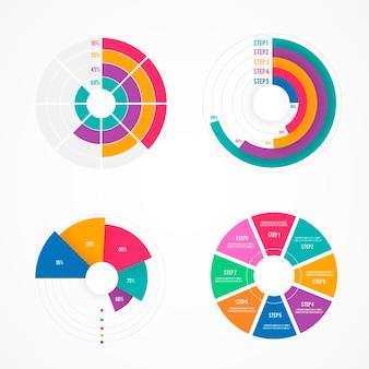 Colección de infografía radial de diseño plano