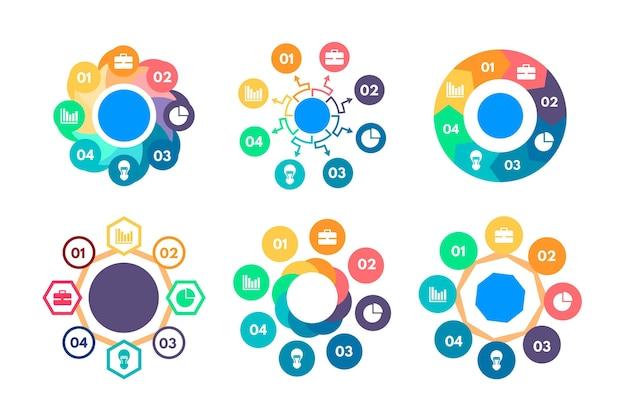 Colección de infografía radial plana