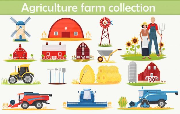 Colección de infografías de agricultura de granja