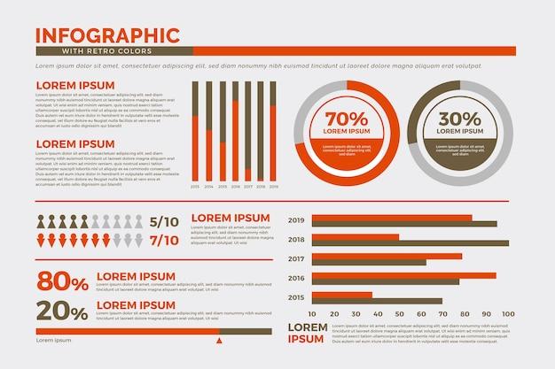 Colección de infografías con colores retro.