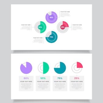 Colección de infografías de diagramas de harvey ball de diseño plano