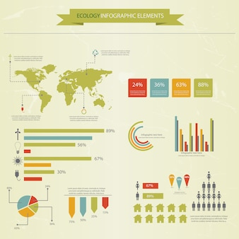 Colección de infografías de ecología, cuadros, símbolos, gráficos.
