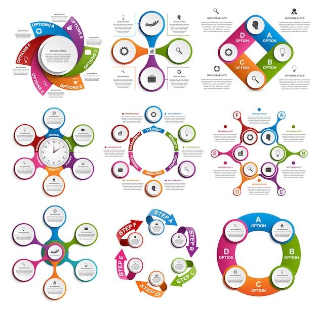 Colección de infografías. elementos de diseño vectorial.