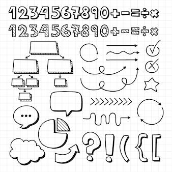 Colección de infografías escolares dibujadas a mano