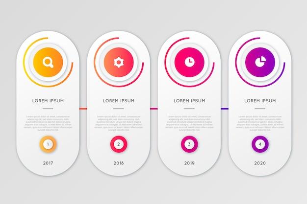 Colección de infografías gradiente