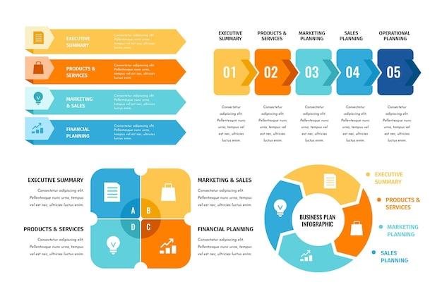 Colección de infografías de planes de negocios