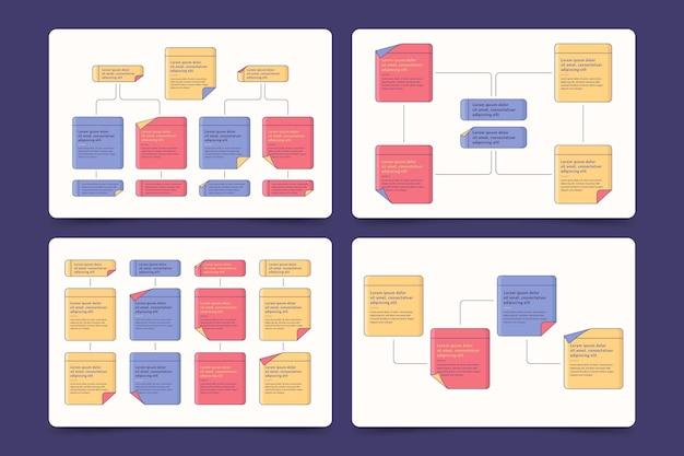 Colección de infografías de tableros de notas adhesivas