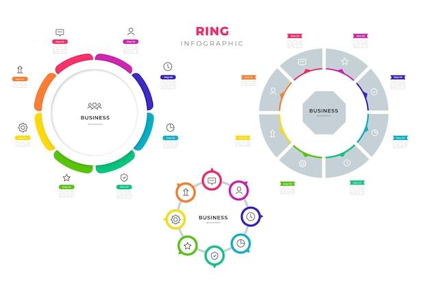 Colección infográfica de anillos