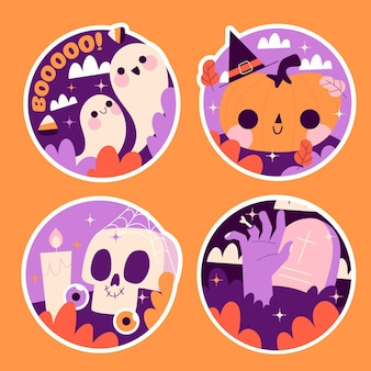 Colección ingenua de pegatinas de halloween