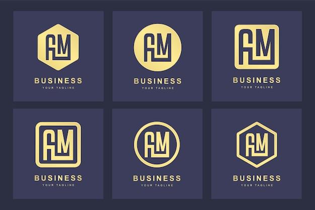 Una colección de iniciales del logotipo de la letra am am dorado con varias versiones.